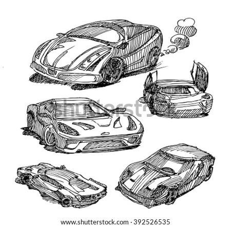 Sketch Cars Sketch Sport Car Stock Vector Royalty Free 392526535