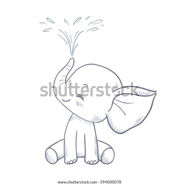 Sketch Cartoon Elephant Spraying Water Doodle Stock Vector ...