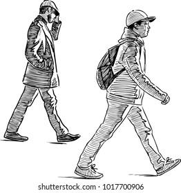 Sketch of casual urban pedestrians