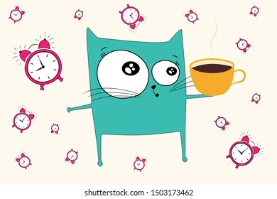 sketch of a cat drawn in vector wake up in the morning did not sleep with an alarm clock with a cup of coffee in hand