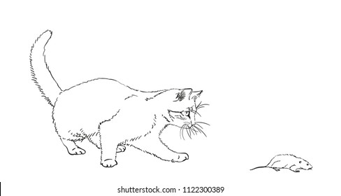 Sketch of cat playing with mouse, Hand drawn vector illustration