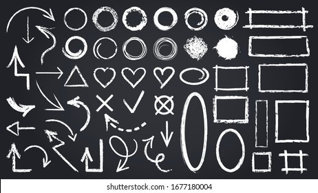Sketch chalk elements. Sketch chalkboard elements, hand drawn graphic arrows, frames, round and rectangle shapes isolated vector icons set. Illustration round mark, cross tick rectangle shape sketch