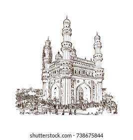 Sketch of Charminar Hyderabad Telangana India in vector illustration.
