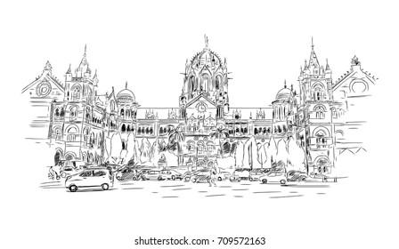Sketch of Chatrapati shivaji terminus railway station, Mumbai in vector illustration.