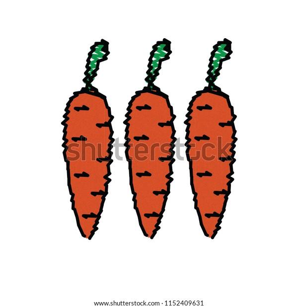 Sketch Child Crayon Carrot, Vector Eps.10