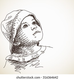 Sketch of child girl in panama hat looking up, Portrait, Hand drawn illustration