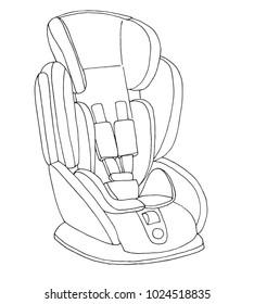 Sketch of a children's car seat. Child safety. Vector illustration