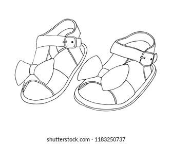 Sketch of children's sandals for girls. Vector illustration.