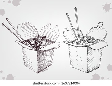 Sketch Chinese food box, noodle with chopsticks.