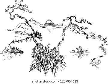 Sketch. Chinese landscape. Vector illustration.