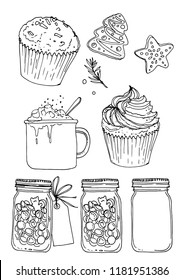 Sketch Christmas sweets. Baking drawn line is not white. Sketch of food. Cake, cookies, cocoa, jar of caramel
