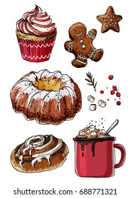 Sketch Christmas sweets. Baking drawn line is not white. Color sketch of food. Cake, cookies, cocoa, jar of caramel