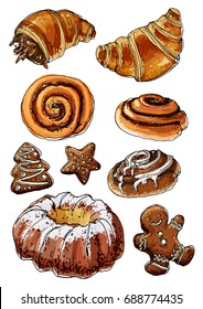 Sketch Christmas sweets. Baking drawn line is not white. Sketch of food. Croissant, Christmas cake, bun with cinnamon, ginger biscuits. Sweets, pastries.