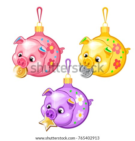 sketch with christmas tree decorations pigs isolated on white background colorful festive glass baubles