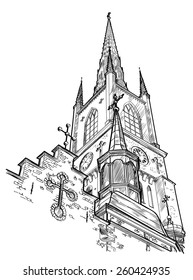 sketch of the church. vector illustration