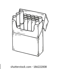 sketch of the cigarettes pack on white background, isolated