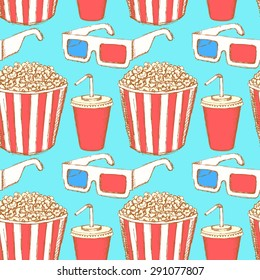 Sketch cinema set in vintage style, vector seamless pattern