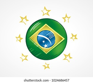Sketch of a circle with the Flag of Brazil with golden stars around, illustration for the year of presidential election in the country