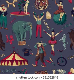 Sketch circles seamless pattern with acrobats, athlete, clowns, elephant, tricks, tiger, dog, bear, bike