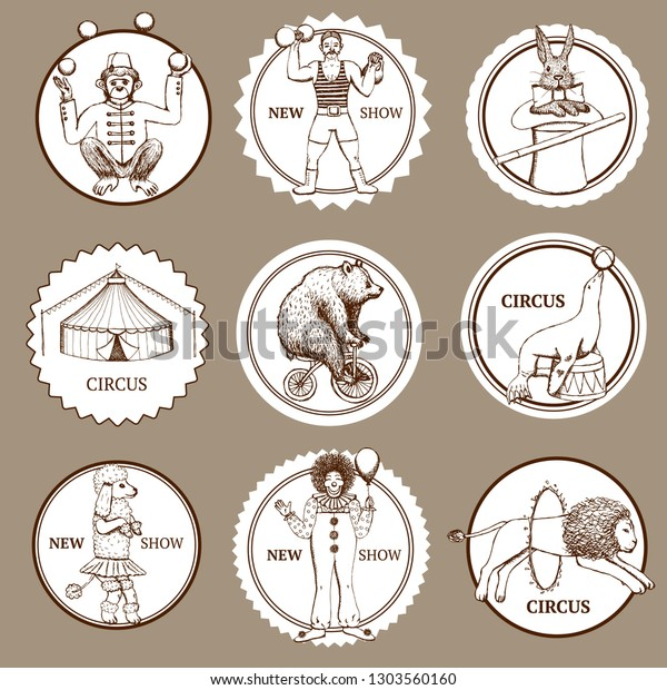 Sketch circus labels and logotypes in vintage style, vector
