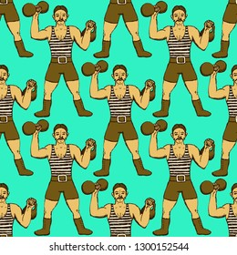 Sketch circus strongman in vintage style, vector seamless pattern