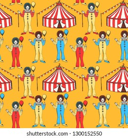 Sketch circus tent and clawn in vintage style, vector seamless pattern