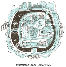 A sketch of a city with an island and a river in cartoon style