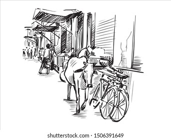 Sketch of city scape in Mumbai, India, show a cow and people are walking on street at local market, hand draw