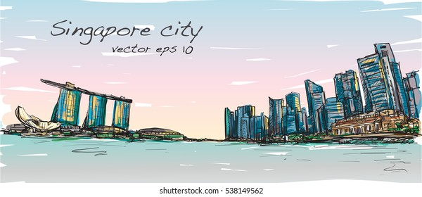 sketch city scape of Singapore skyline with Marina bay and building landscape, free hand draw illustration vector