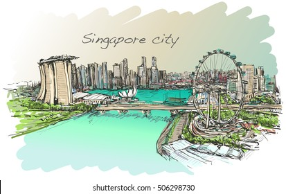 sketch city scape,of Singapore skyline, free hand draw illustration vector