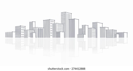 The sketch of a city skyline