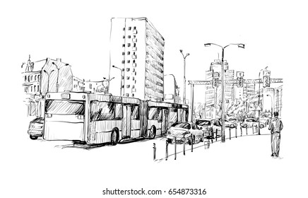 sketch of cityscape in Germany show traffic jam and sportation in Berlin, illustration vector