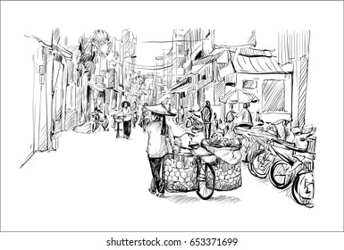 sketch of cityscape in Hanoi Vietnam show woman banana seller on a bicycle walking on street, illustration vector