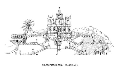 sketch of cityscape in India show Church of Mary Immaculate Conception in panaji goa, illustration vector