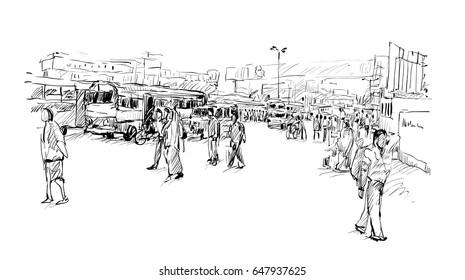 sketch of cityscape in India show Kolkata street on trafic jam, illustration vector