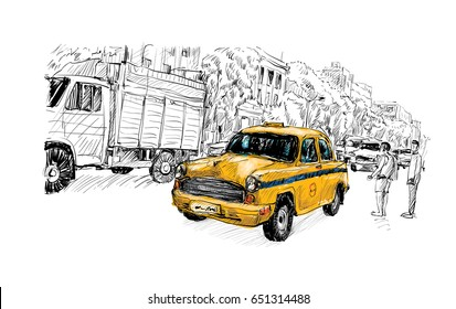 sketch of cityscape in India show transportation local taxi on street, illustration vector