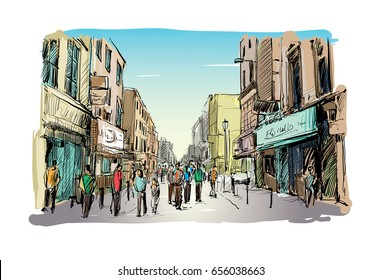 sketch of cityscape in Ireland show walk street Dublin Grafton and peoples walking, illustration vector