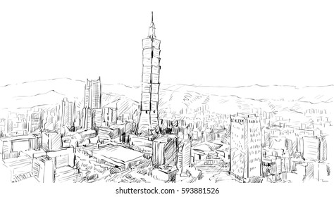 sketch of cityscape show townscape in Taiwan, Taipei building, illustration  vector
