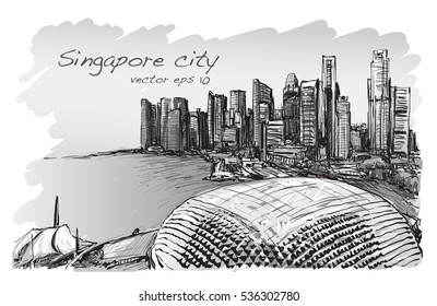 sketch cityscape of Singapore skyline, free hand draw illustration vector