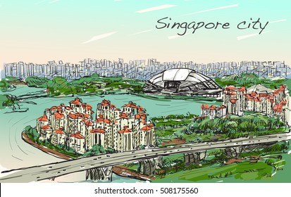sketch cityscape of Singapore skyline on topview Sports Hub and river, free hand draw illustration vector
