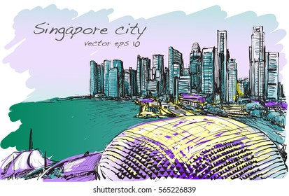 sketch cityscape of Singapore skyline in special color, free hand draw illustration vector