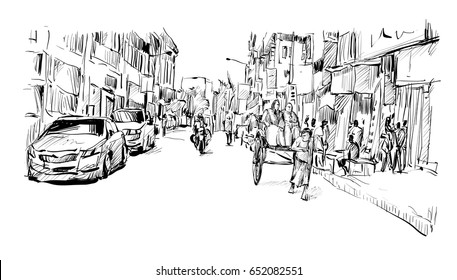sketch of cityscape transportation in India show traditional hand pulled rickshaw driver working on street, illustration  vector