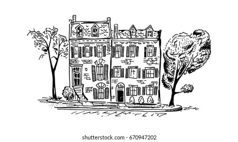 Sketch of classic american brick Townhouses. Vector illustration