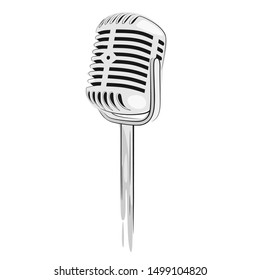 sketch of classic microphone. vector illustration