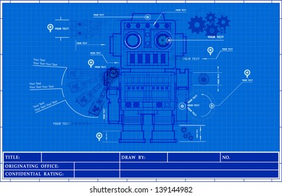 Robot blueprint stock images royalty free images for Where to buy blueprint paper