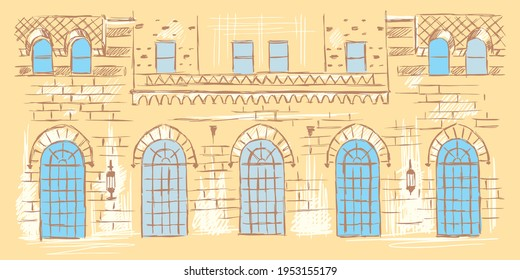 Sketch of the classical facade with blue windows, hand-drawn.