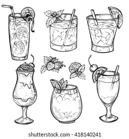 Sketch cocktails and alcohol drinks set. Hand drawn vector illustration. Whiskey, margarita, juice, milk shake and other. Set 1.