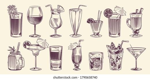 Sketch cocktails. Hand drawn different cocktail set, alcohol drink in glass for party restaurant or cafe menu, cold mojito, tropical pina colada and margarita, engraving style vector isolated set