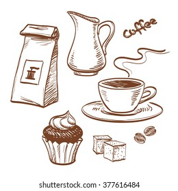 Sketch coffee set isolated on white background. Hand drawn vector illustration.
