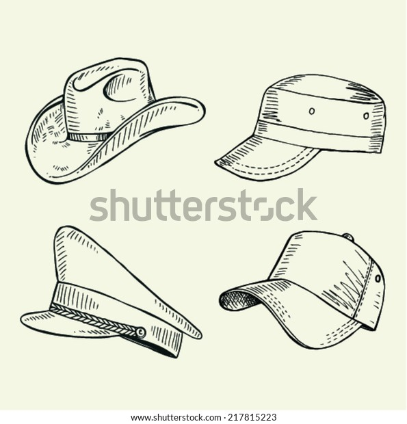 60f001f0 Sketch Collection Cap Vector Illustration Stock Vector (Royalty Free ...